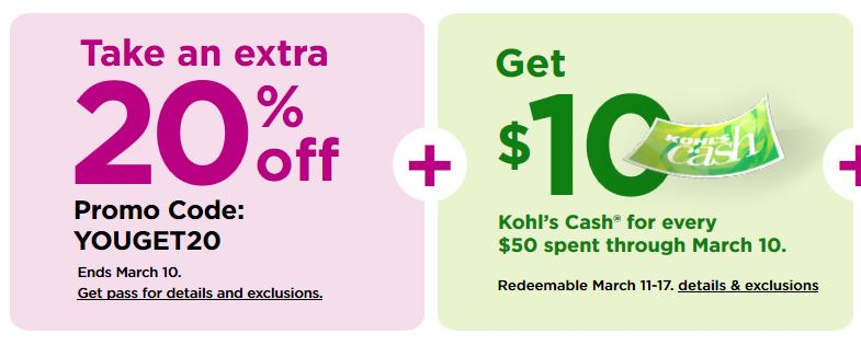 Kohls Coupons: Extra 20% Off Select Already-reduced Items March 2019
