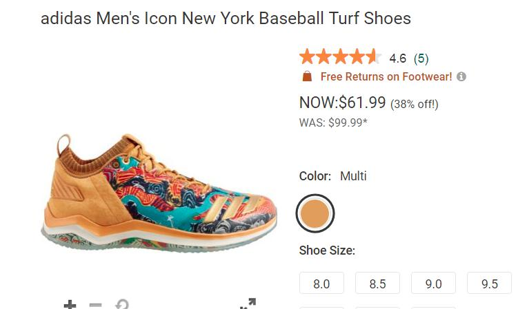 Buy Adidas Men's Icon New York Baseball Shoes only $50 with Free Shipping