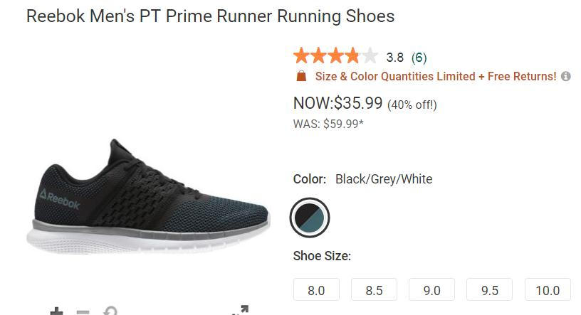 Buy Reebok Men's PT Prime Runner Shoes for $29 at Dicks Sporting Goods