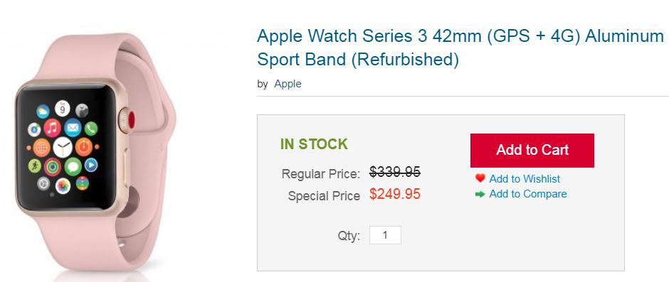 Get Refurb Apple Watch Series 3 GPS + Cellular for $250 plus Free Shipping