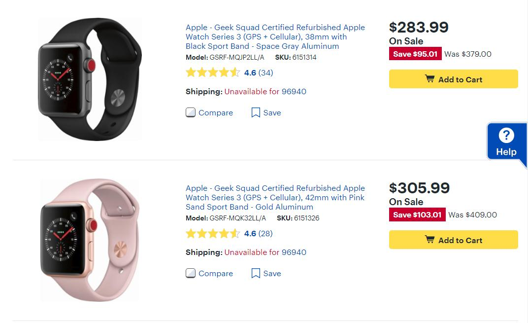 UP 25% OFF Refurbished Apple Watch Series 3 Smartwatches at Bestbuy