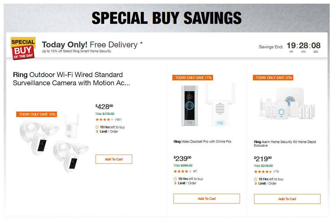 Home Depot Deals - Up to 15% off Select Ring Smart Home Security