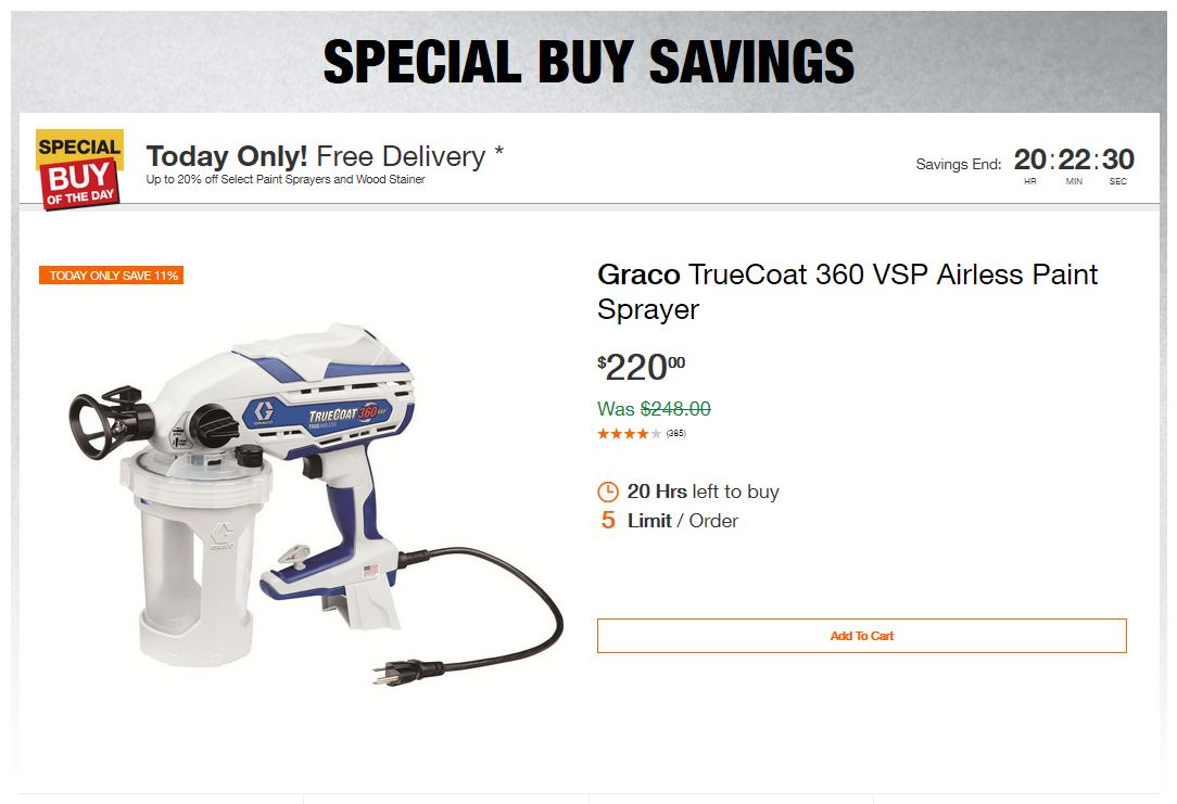 Home Depot Deals - Up to 20% off Select Paint Sprayers and Wood Stainer