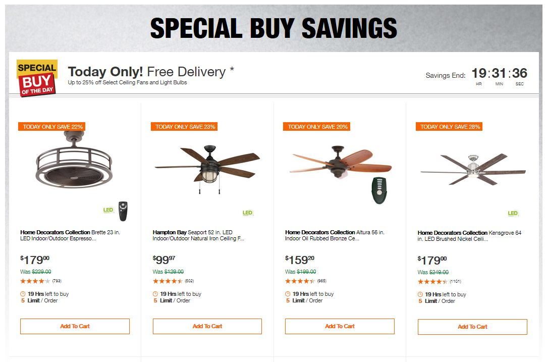 Home Depot Deals - Up to 25% off Select Ceiling Fans and Light Bulbs