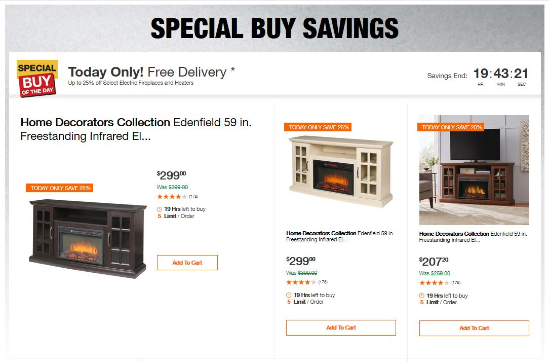 Home Depot Deals - Up to 25% off Select Electric Fireplaces and Heaters