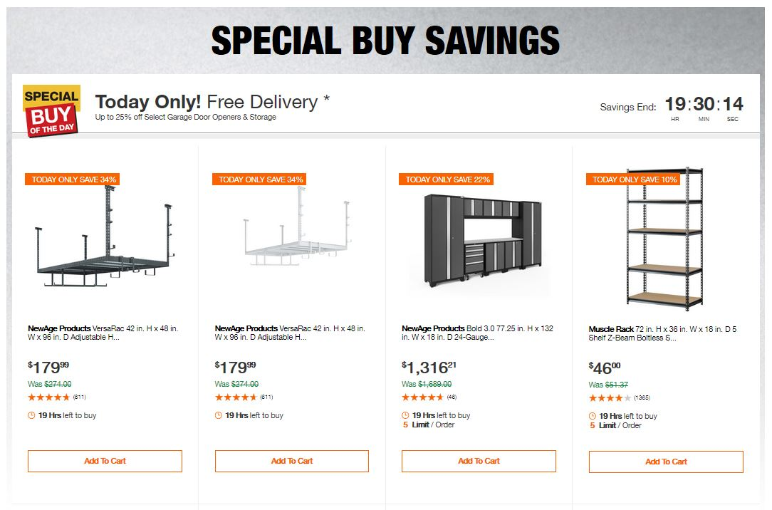 Home Depot Deals – Up to 25% off Select Garage Door Openers & Storage