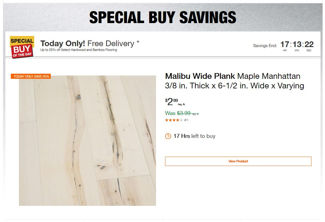 Home Depot Deals – Up to 25% off Select Hardwood and Bamboo Flooring