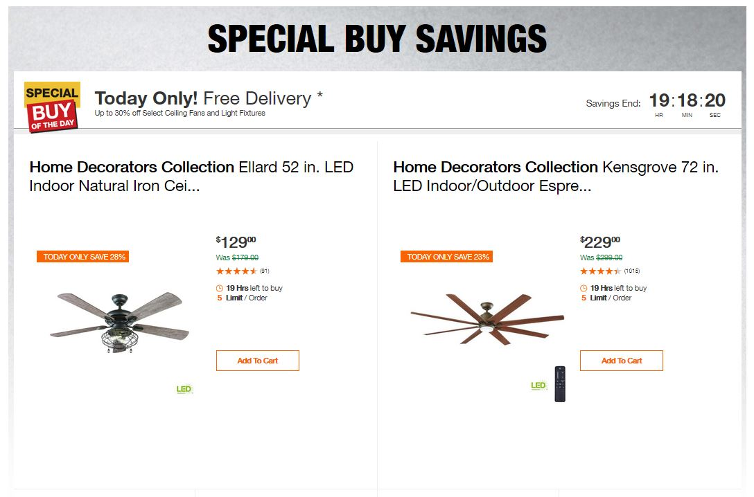 Home Depot Deals - Up to 30% off Select Ceiling Fans and Light Fixtures