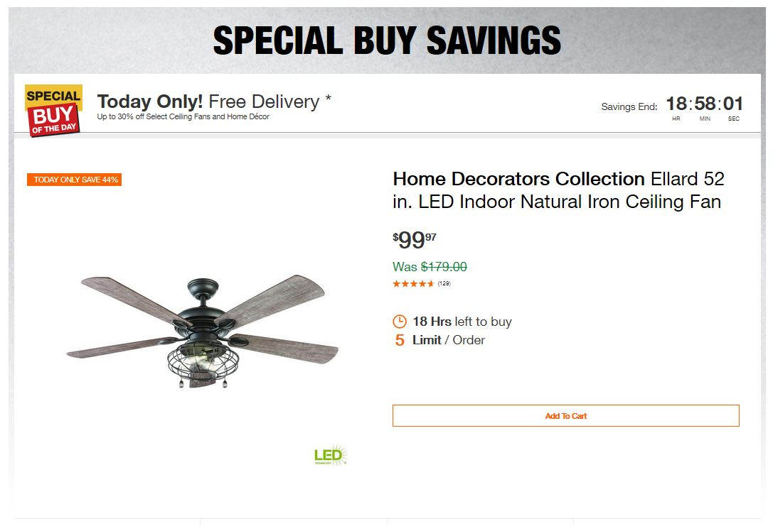 Home Depot Deals – Up to 30% off Select Ceiling Fans and Home Décor