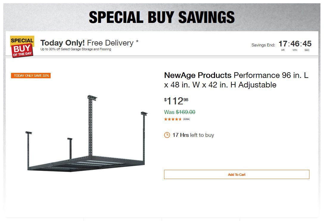 Home Depot Deals – Up to 30% off Select Garage Storage and Flooring