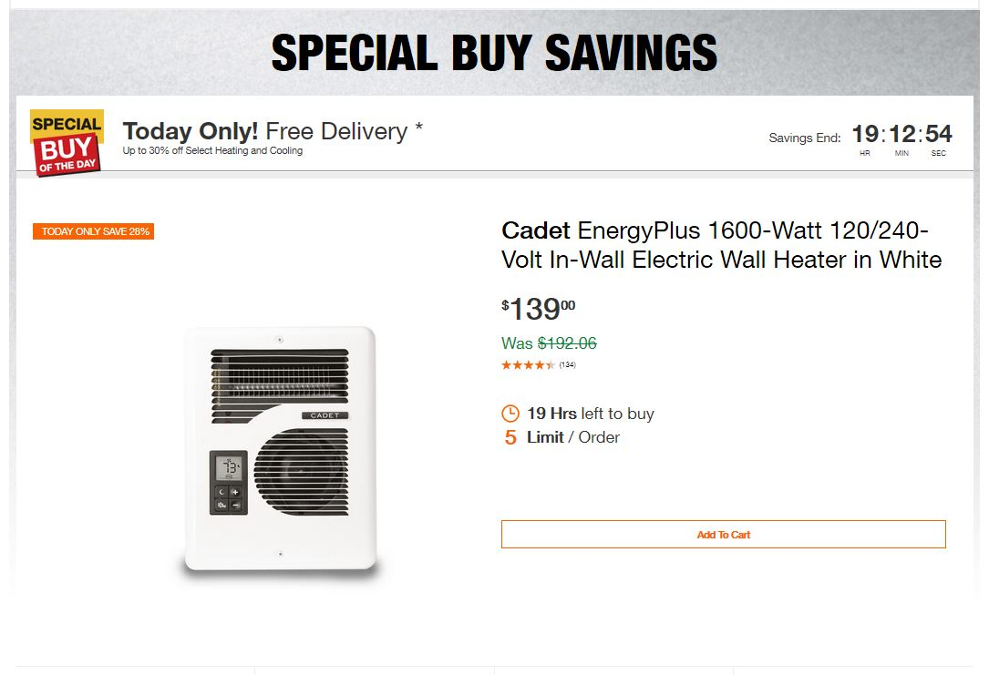 Home Depot Deals – Up to 30% off Select Heating and Cooling