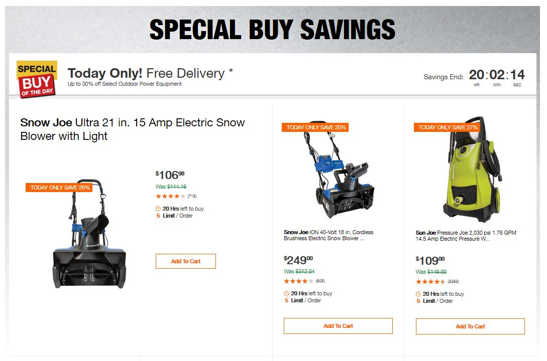 Home Depot Deals - Up to 30% off Select Outdoor Power Equipment