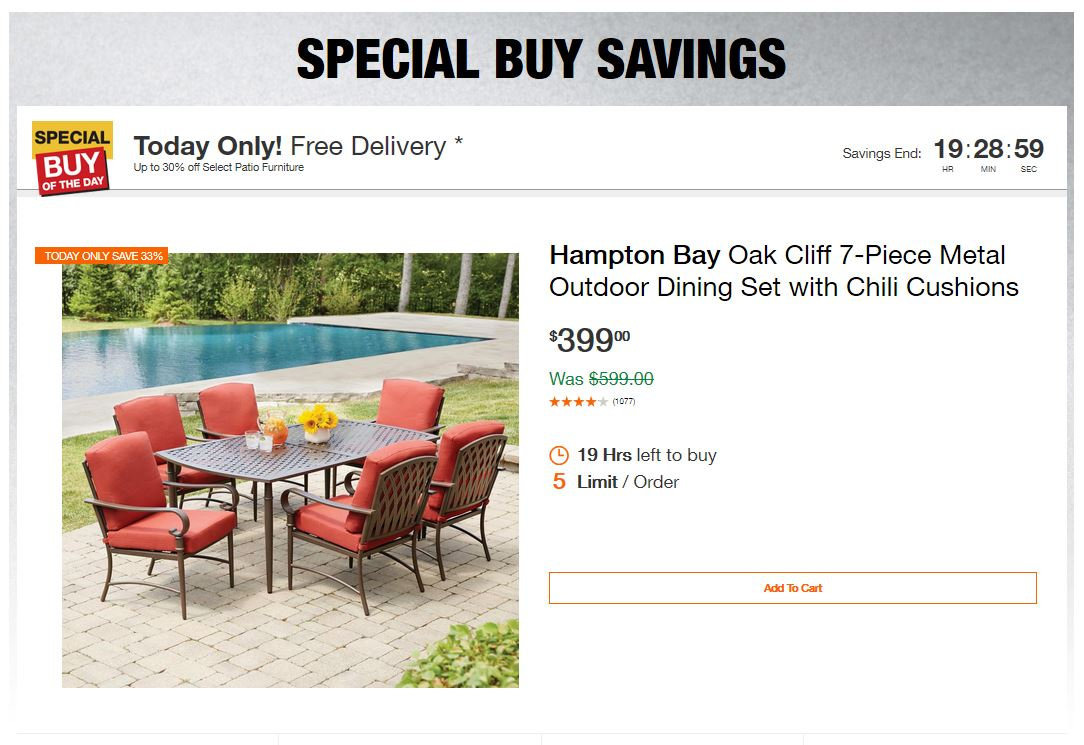 Home Depot Deals – Up to 30% off Select Patio Furniture