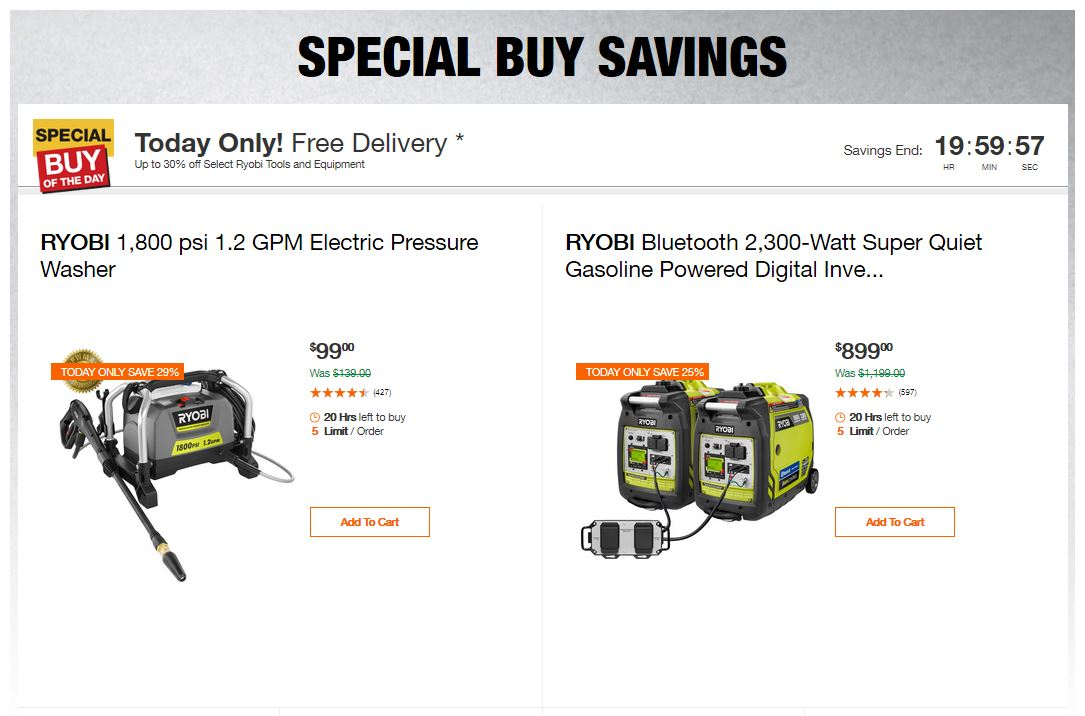 Home Depot Deals - Up to 30% off Select Ryobi Tools and Equipment