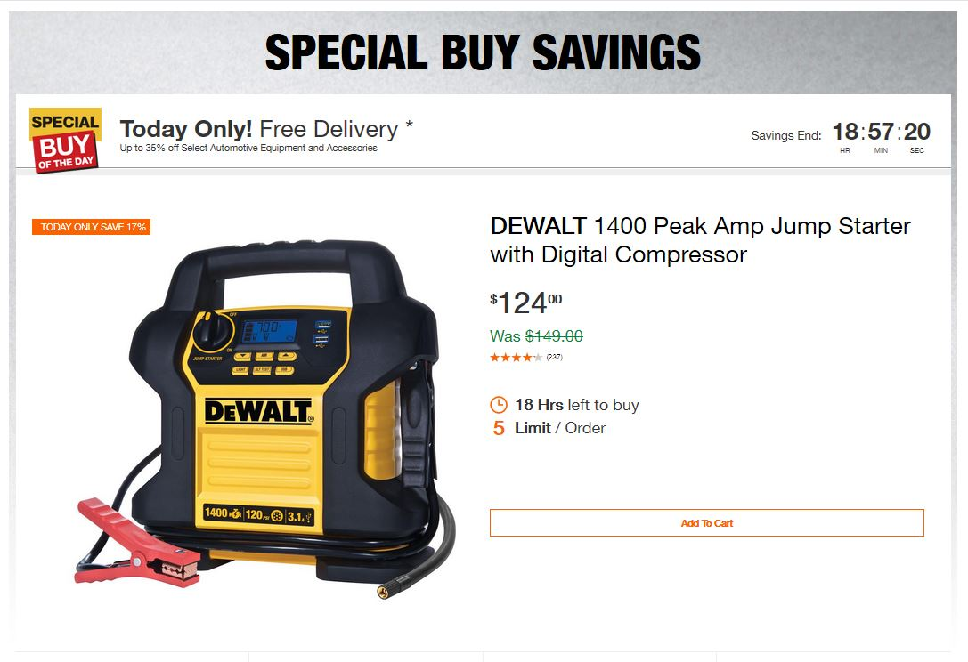 Home Depot Deals – Up to 35% off Select Automotive Equipment and Accessories