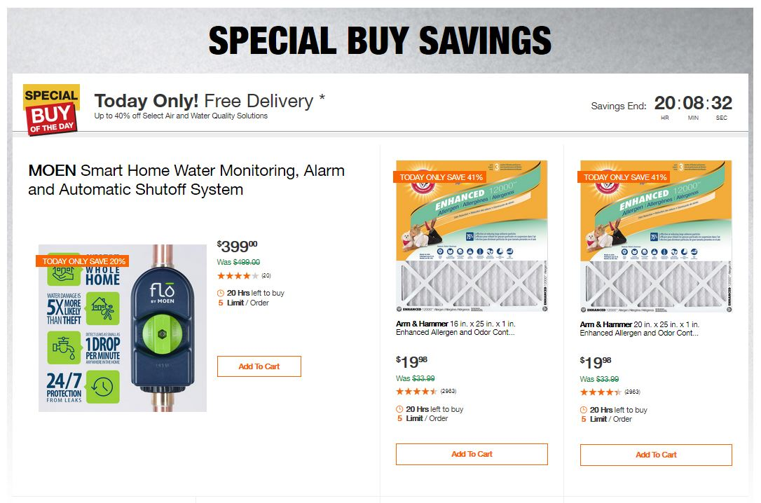 Home Depot Deals – Up to 40% off Select Air and Water Quality Solutions