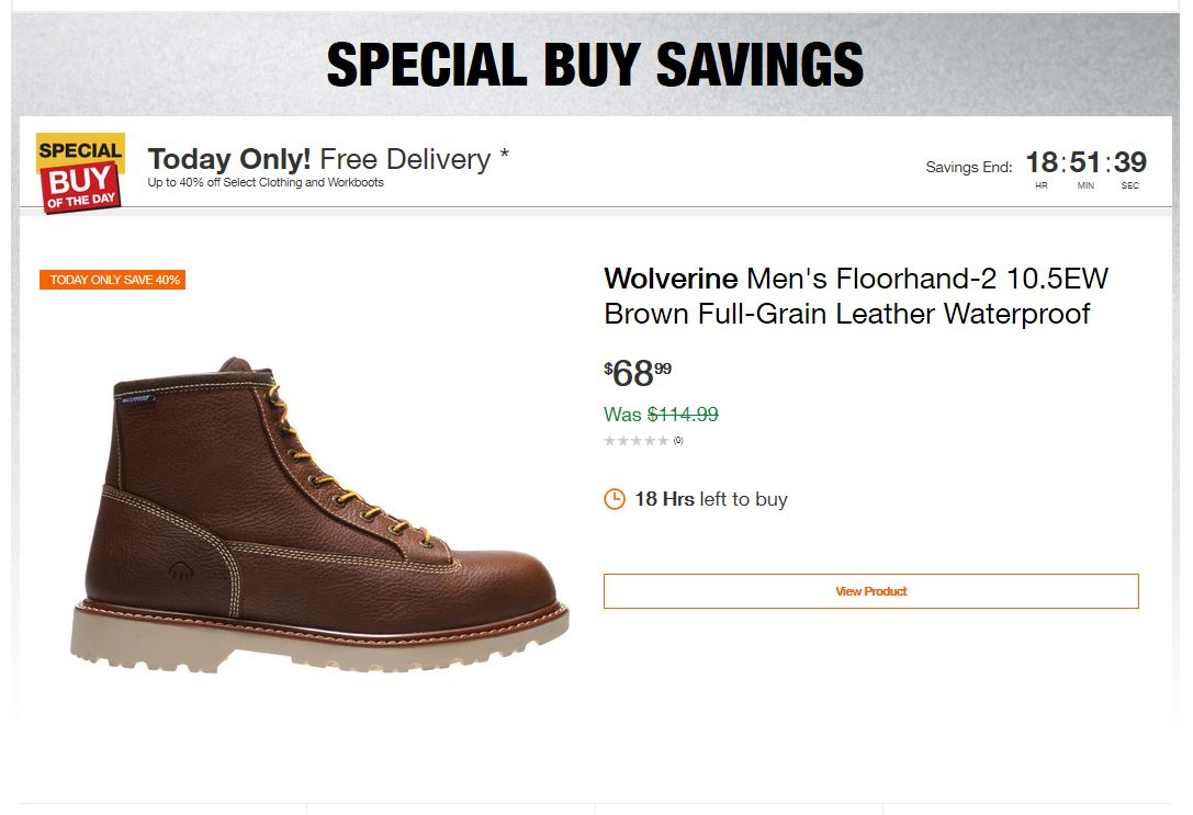Home Depot Deals - Up to 40% off Select Clothing and Workboots