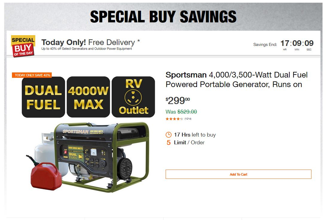 Home Depot Deals - Up to 40% off Select Generators and Outdoor Power Equipment
