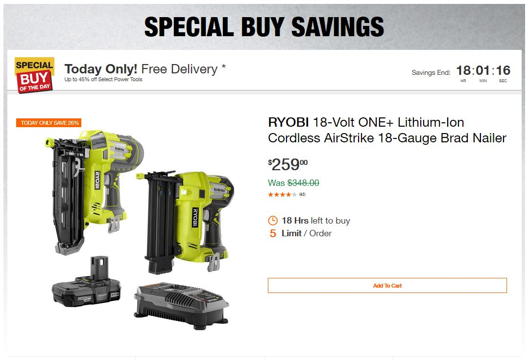 Home Depot Deals – Up to 45% off Select Power Tools