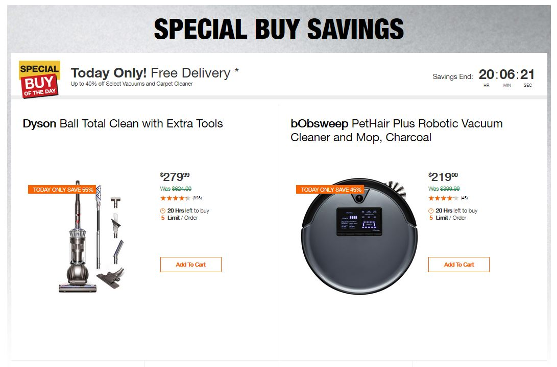 Home Depot Deals - Up to 40% off Select Vacuums and Carpet Cleaner