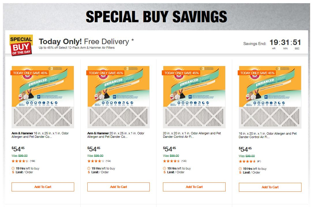 Home Depot Deals – Up to 45% off Select 12-Pack Arm & Hammer Air Filters