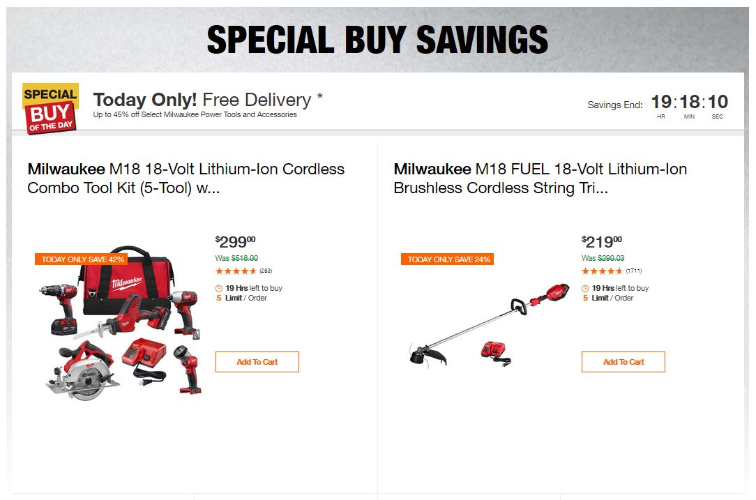 Home Depot Deals - Up to 45% off Select Milwaukee Power Tools and Accessories