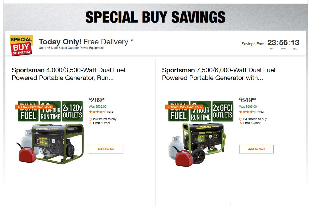 Home Depot Deals - Up to 45% off Select Outdoor Power Equipment