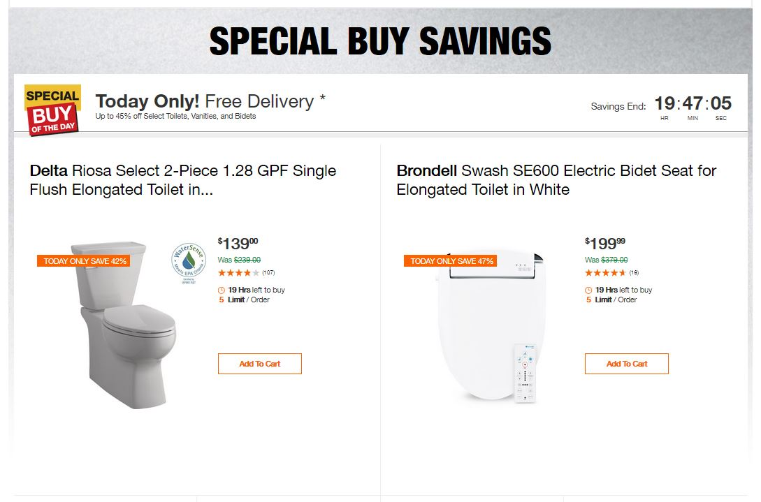 Home Depot Deals - Up to 45% off Select Toilets, Vanities, and Bidets
