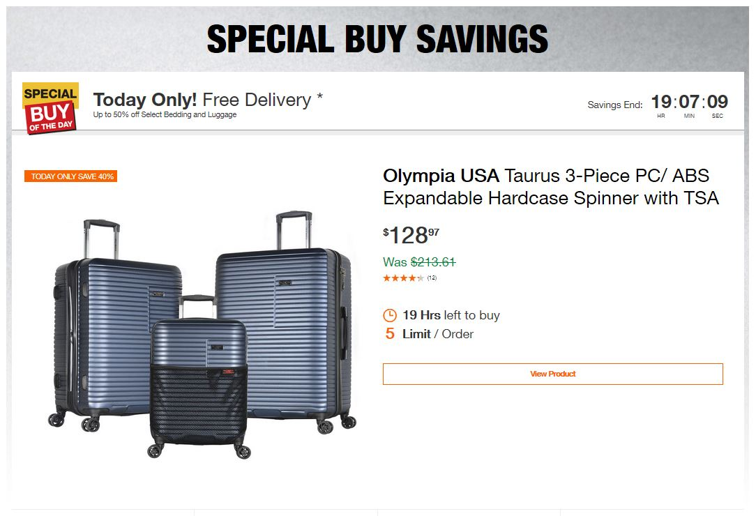 Home Depot Deals – Up to 50% off Select Bedding and Luggage