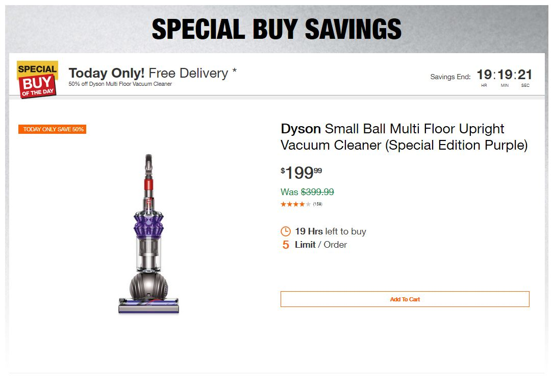 Home Depot Deals - 50% off Dyson Multi Floor Vacuum Cleaner