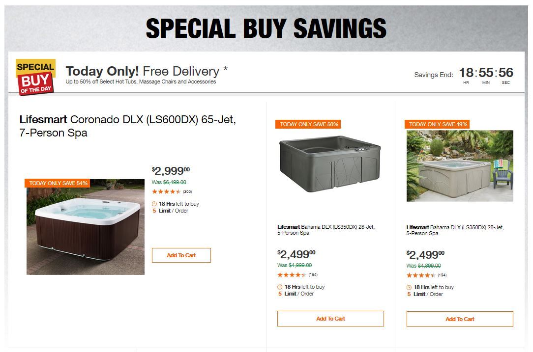 Home Depot Deals - Up to 50% off Select Hot Tubs, Massage Chairs and Accessories
