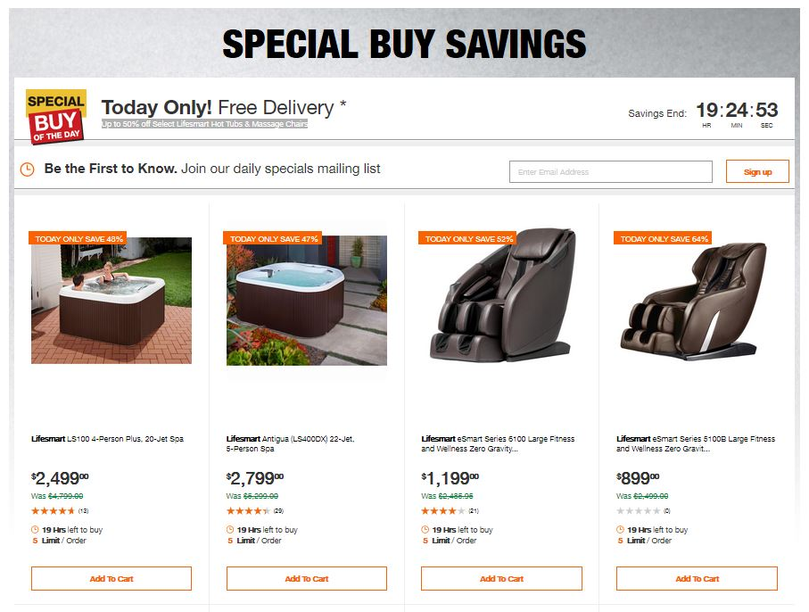 Home Depot Deals – Up to 50% off Select Lifesmart Hot Tubs & Massage Chairs