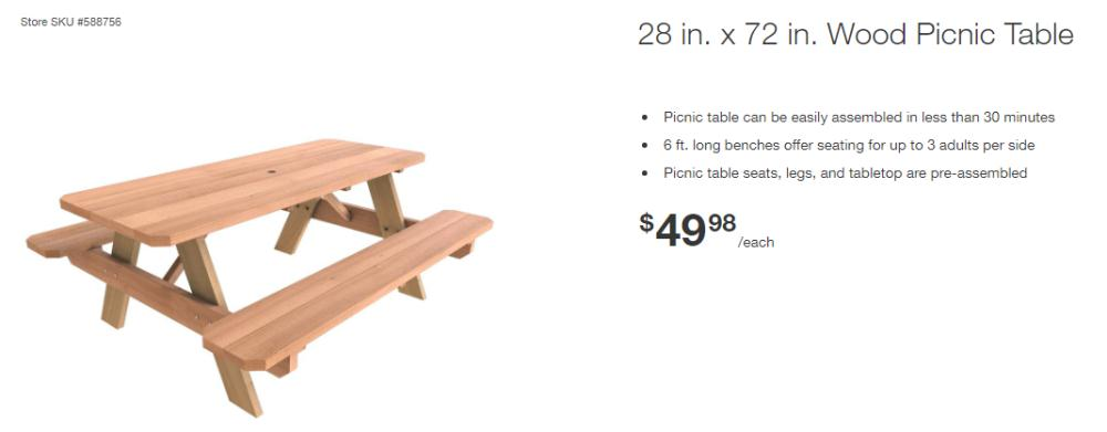 Get 28″ x 72″ Wood Picnic Table for $50 + pickup at Home Depot