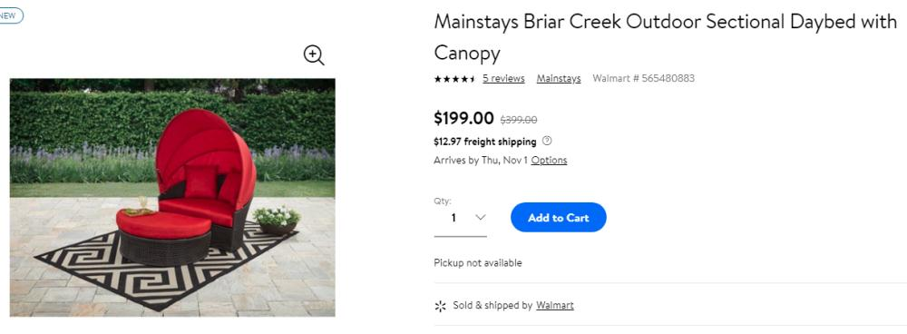 Buy Mainstays Briar Creek Outdoor Sectional Daybed with Canopy only $199 at Walmart