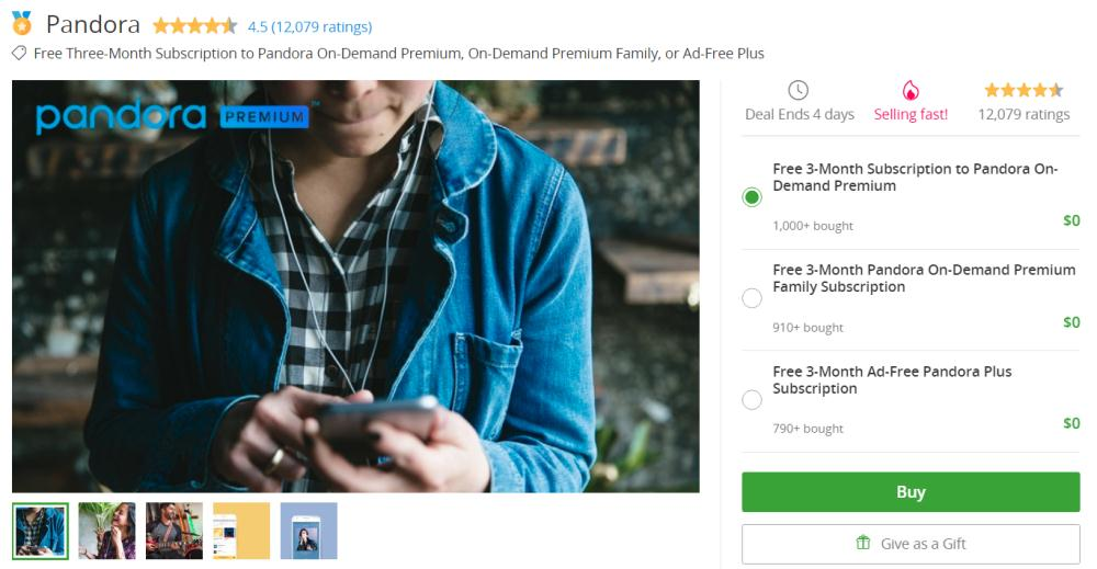 Free 3-Month Subscription to Pandora On-Demand Premium, On-Demand Premium Family, or Ad-Free Plus
