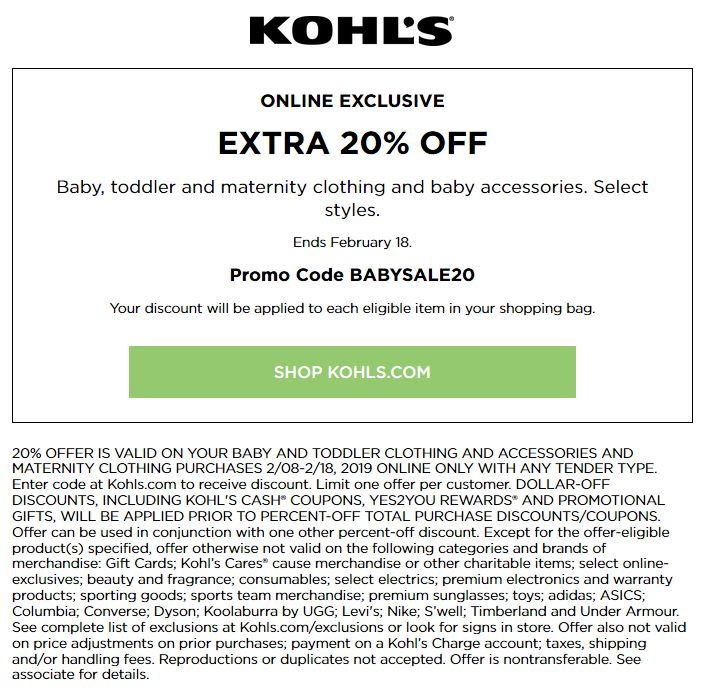 Kohl's Baby Sale: 20% Off Baby and Toddler Purchase February 2019
