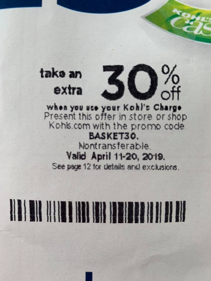 Kohls 30% OFF Coupons Code plus Free Shipping April 2019