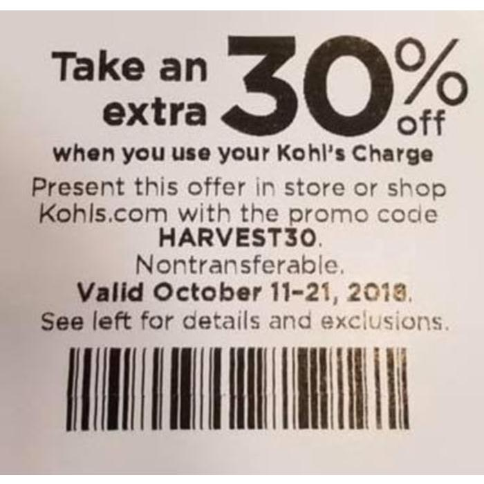 Kohls 30% OFF Coupons Code plus Free Shipping October 2018