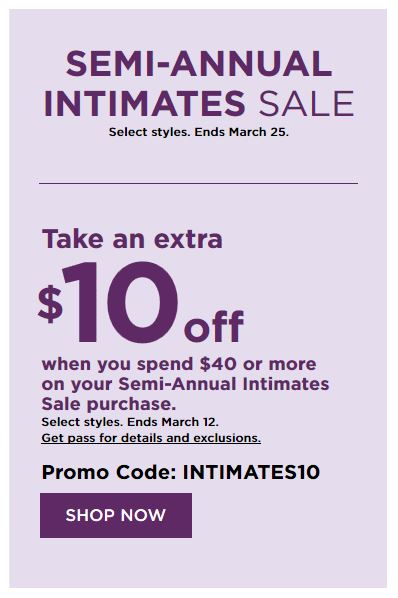 Kohl's Coupons: Extra $10 Off $40 Intimates Sale Purchase March 2019