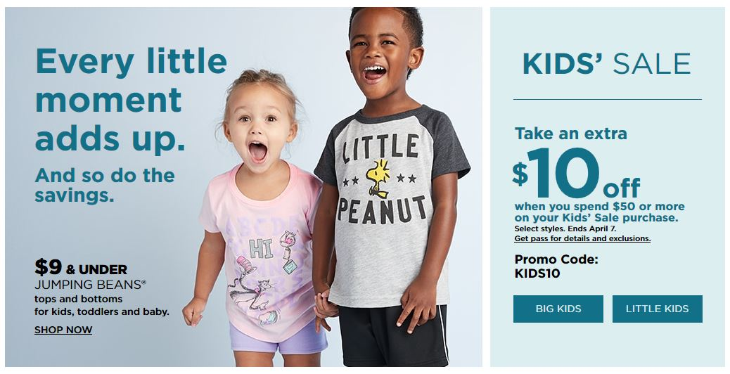 Kohl's Coupons: Extra $10 Off $50+ Select Kids And Baby March 2019