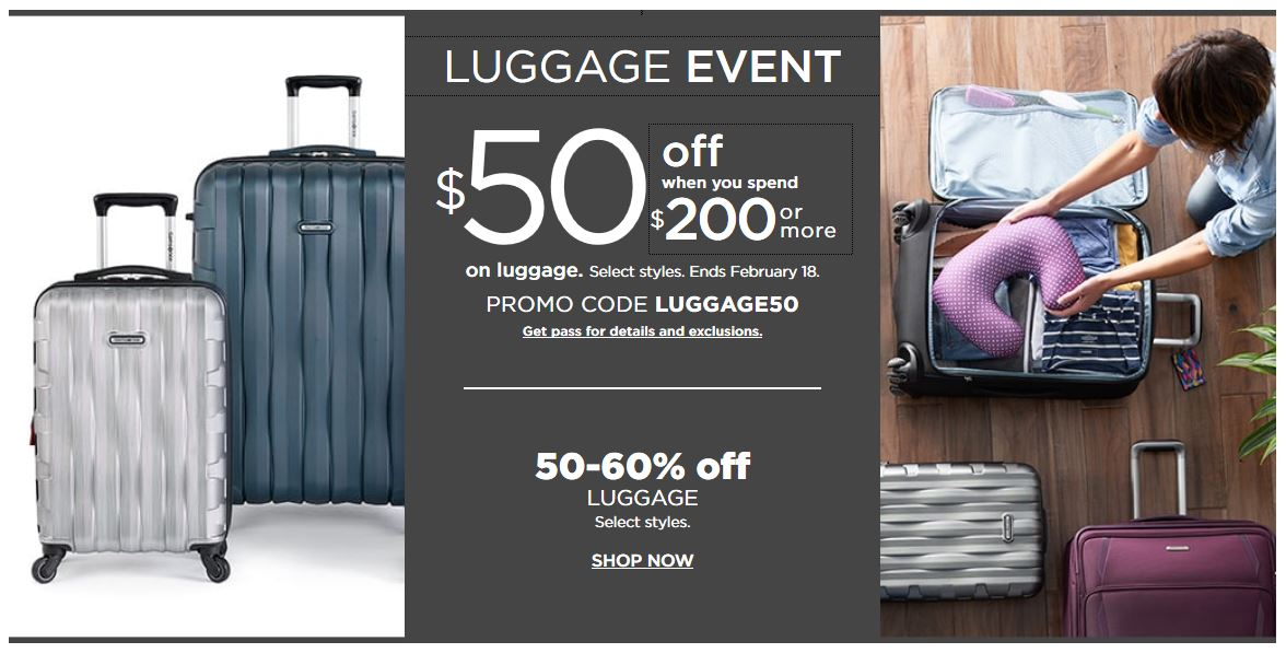 Kohl's Coupon: Extra $50 Off $200 Luggage Purchase February 2019