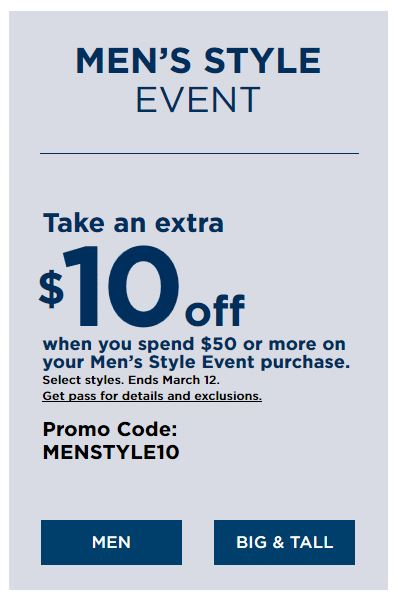 Kohl's Coupons: Extra $10 Off $50 Mens Style Event Purchase March 2019