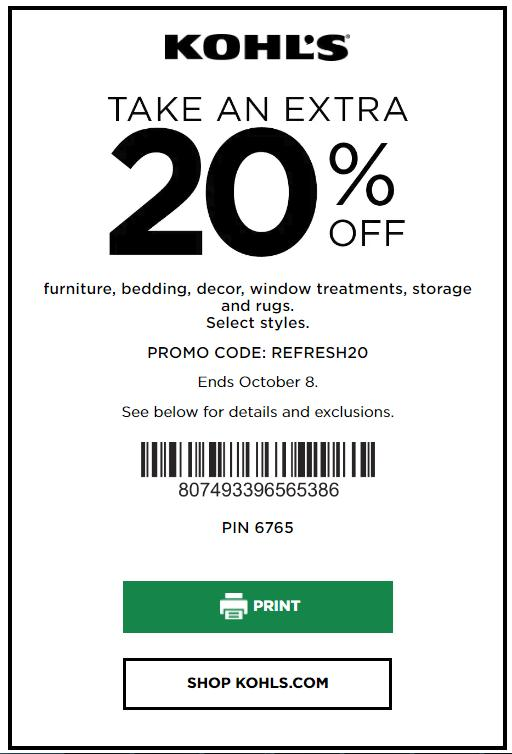 Kohl's Coupon: Save 20% Off Furniture, Mattresses, Rugs, Window Treatments and Bedding