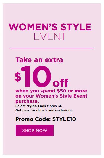 Kohl's Coupons: Extra $10 Off $50 Womens Style Event Purchase March 2019