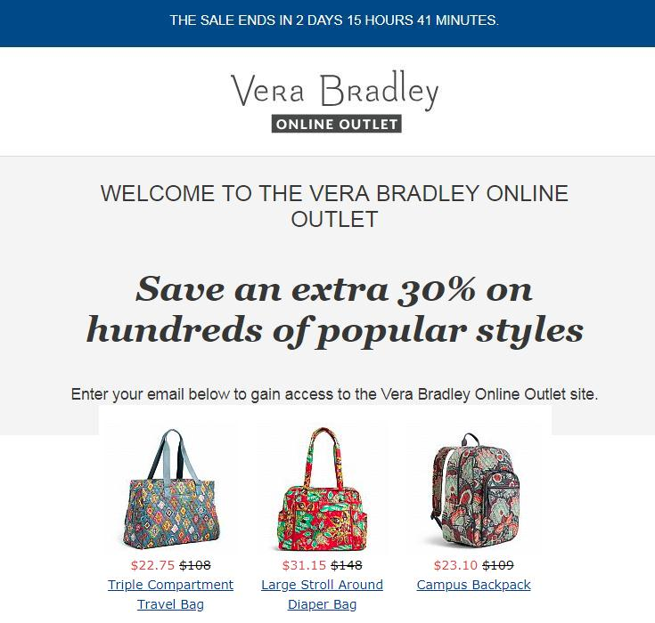 Vera Bradley Outlet Sale : Extra 30% OFF Sitewide